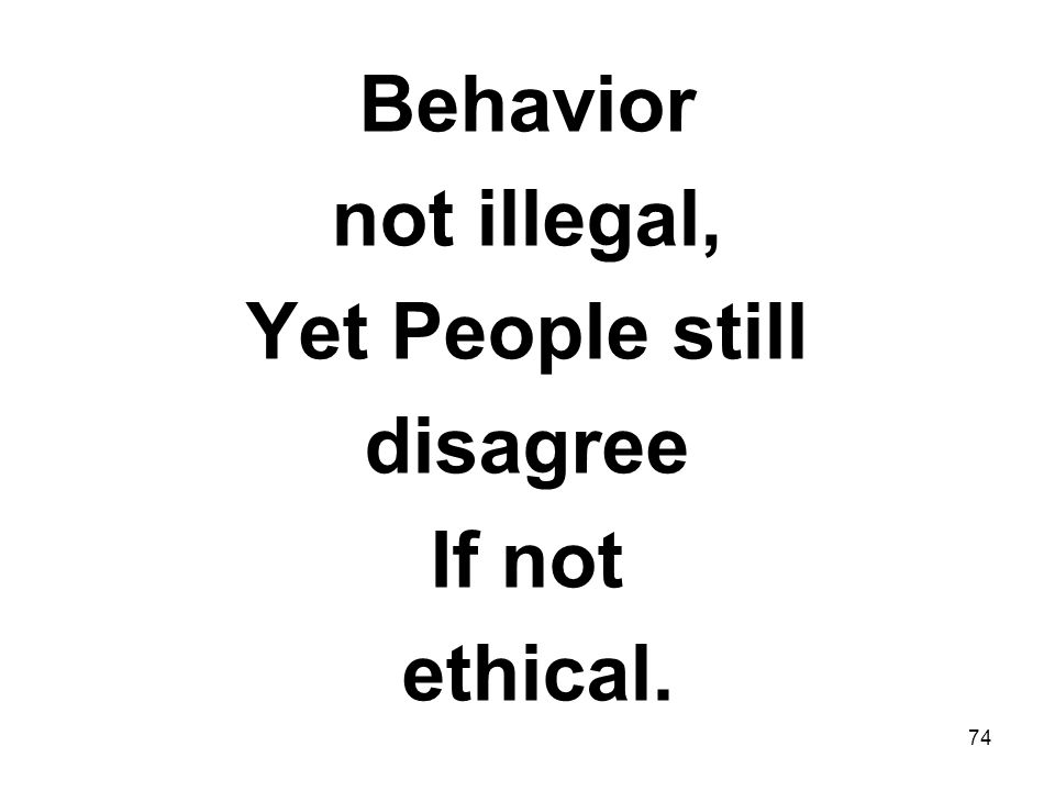 Behavior not illegal, Yet People still disagree If not ethical.