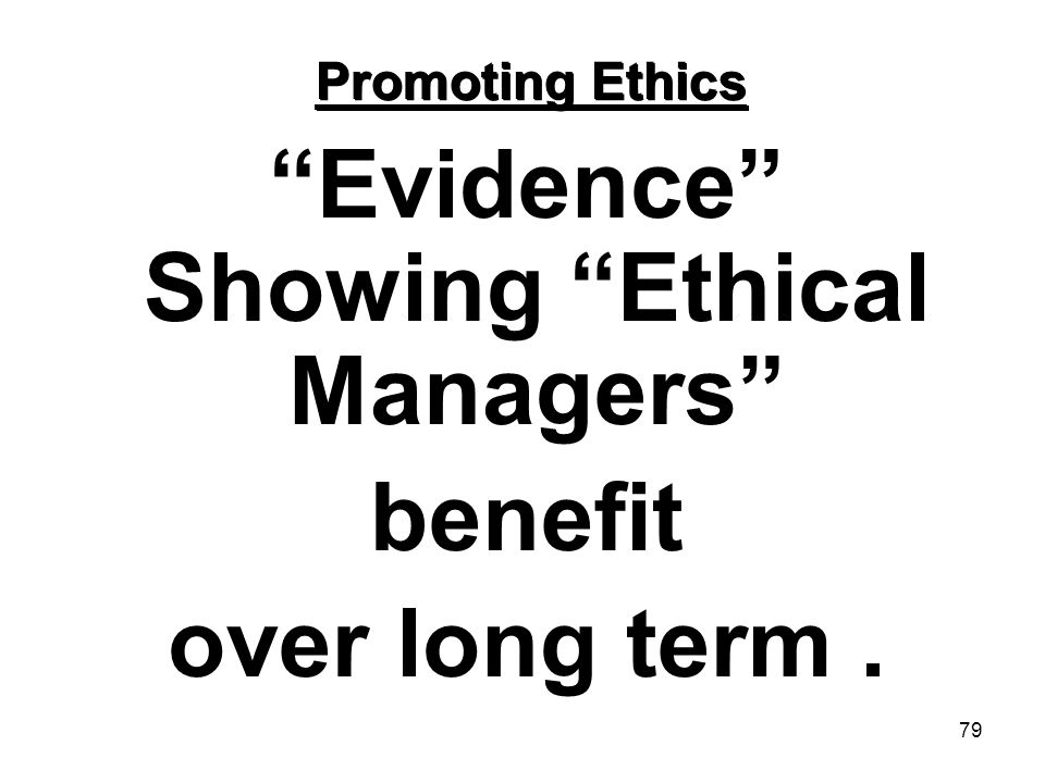 Evidence Showing Ethical Managers