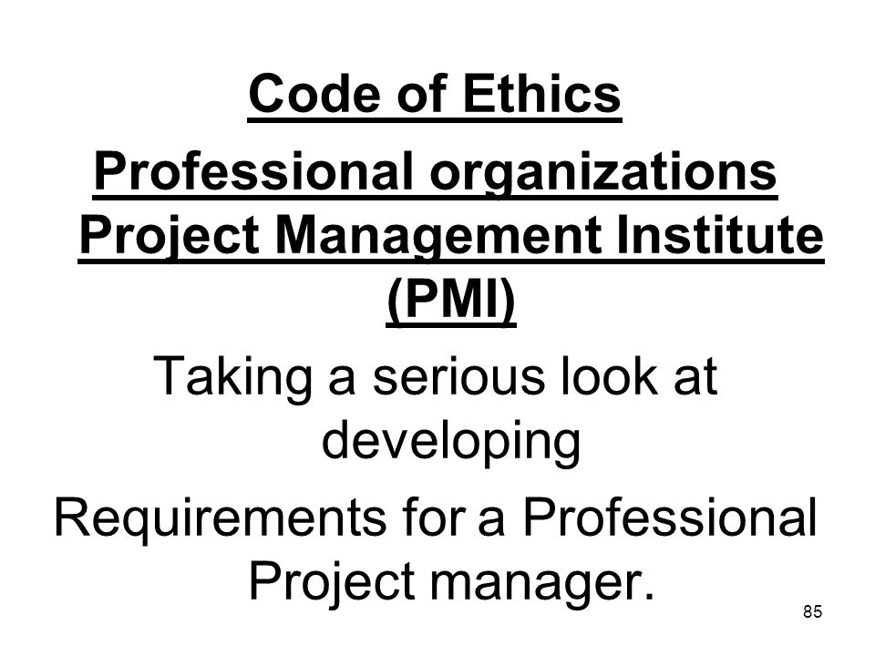 Professional organizations Project Management Institute (PMI)