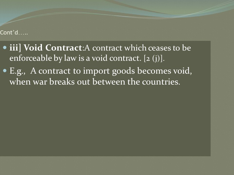 Cont'd….. iii] Void Contract:A contract which ceases to be enforceable by law is a void contract. [2 (j)].