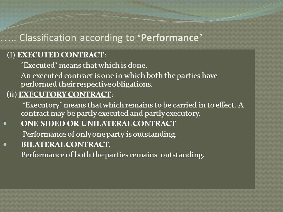 ….. Classification according to 'Performance'