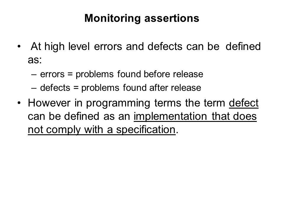 Monitoring assertions