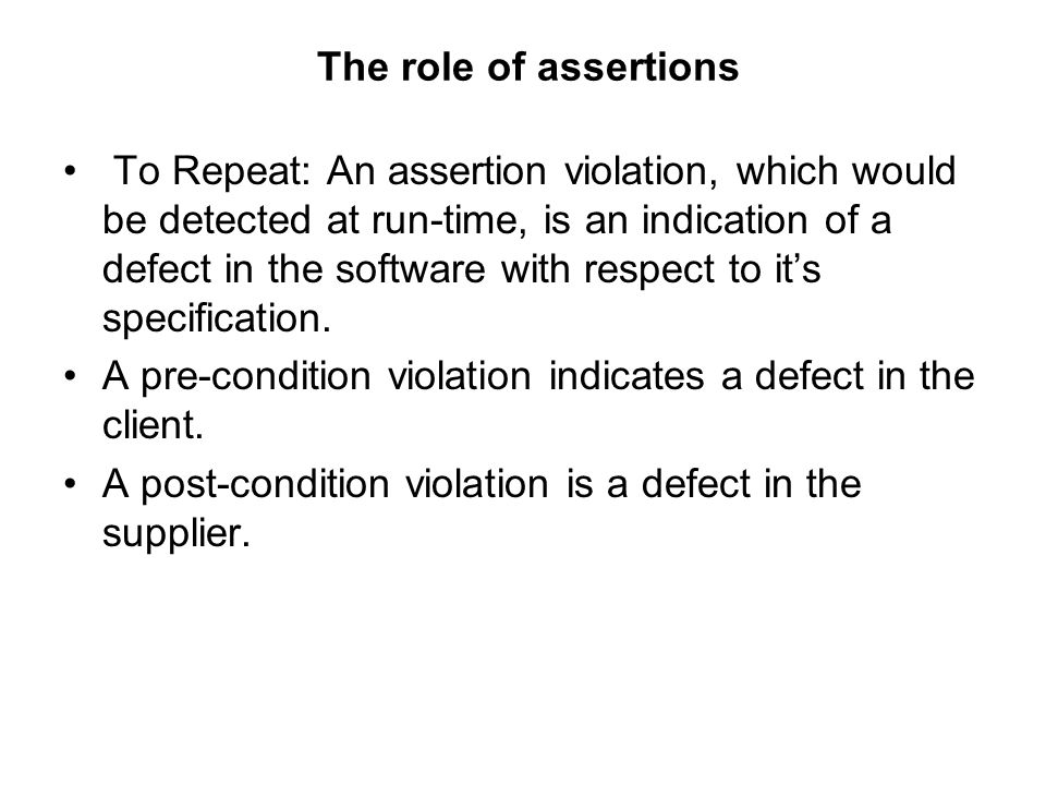 The role of assertions