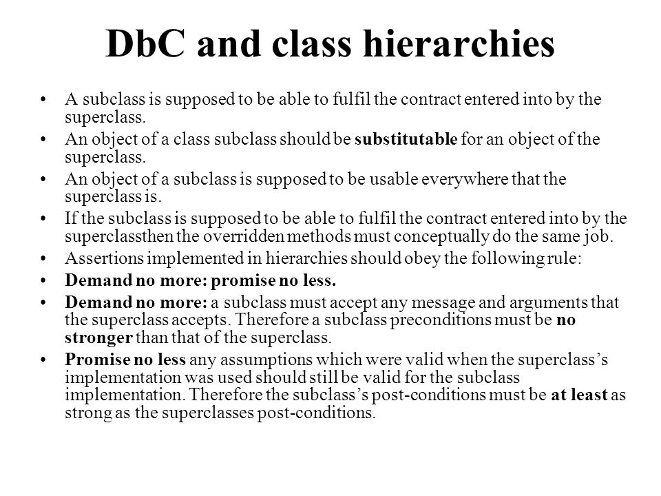 DbC and class hierarchies