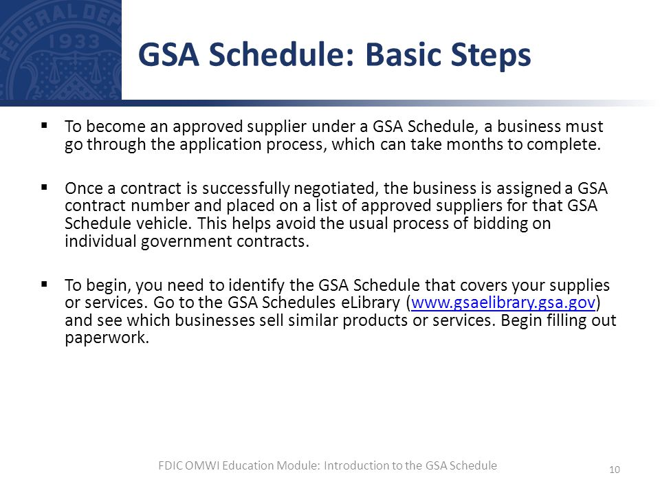 GSA Schedule: Basic Steps