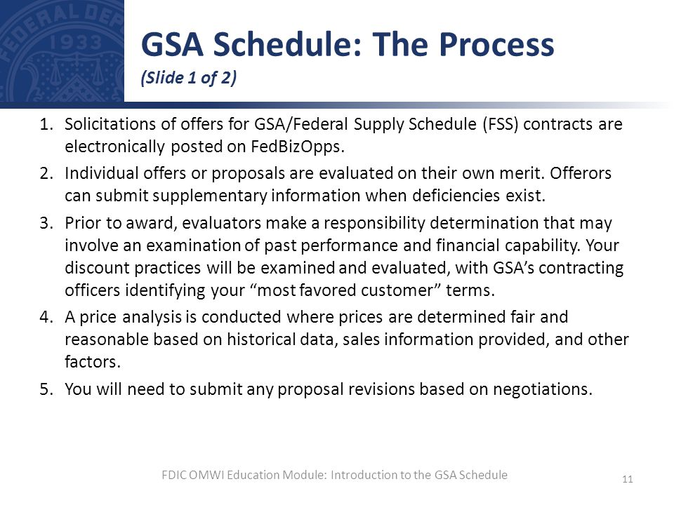 GSA Schedule: The Process (Slide 1 of 2)