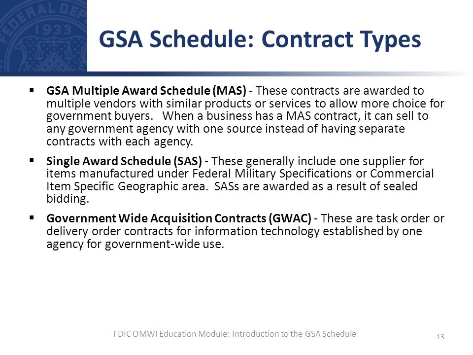 GSA Schedule: Contract Types