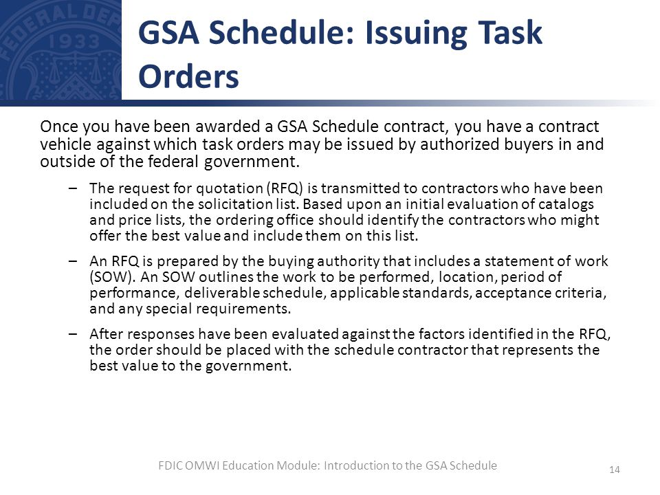 GSA Schedule: Issuing Task Orders