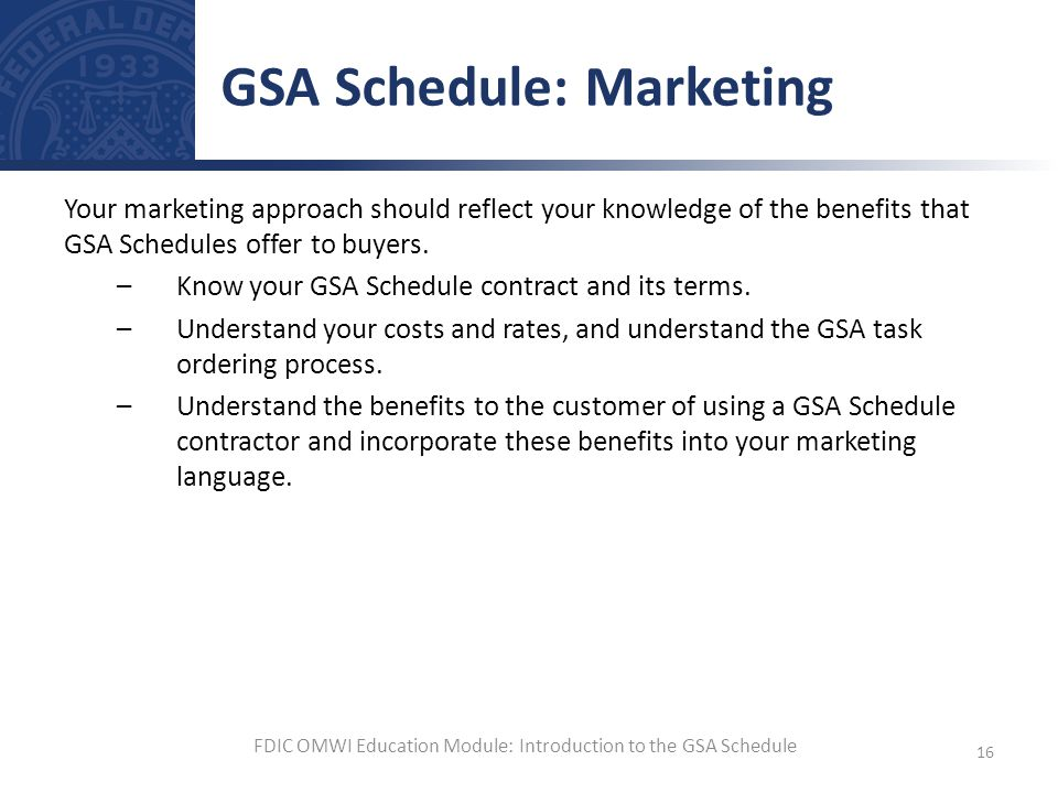 GSA Schedule: Marketing