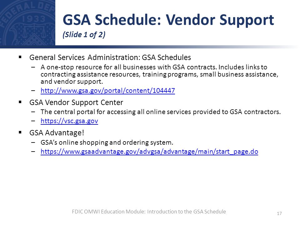GSA Schedule: Vendor Support (Slide 1 of 2)