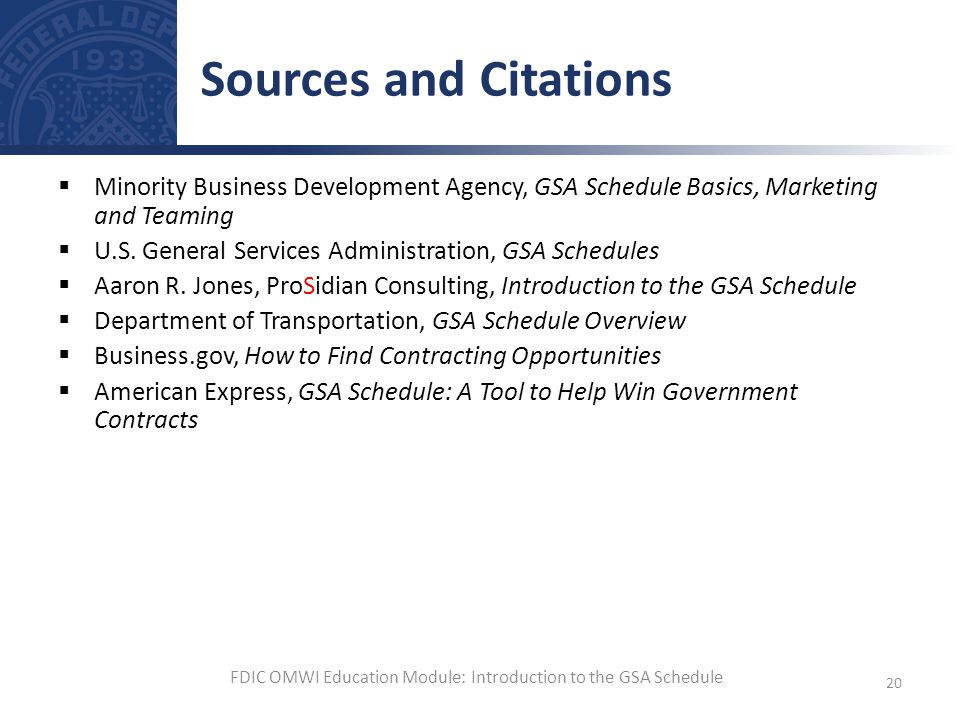 FDIC OMWI Education Module: Introduction to the GSA Schedule