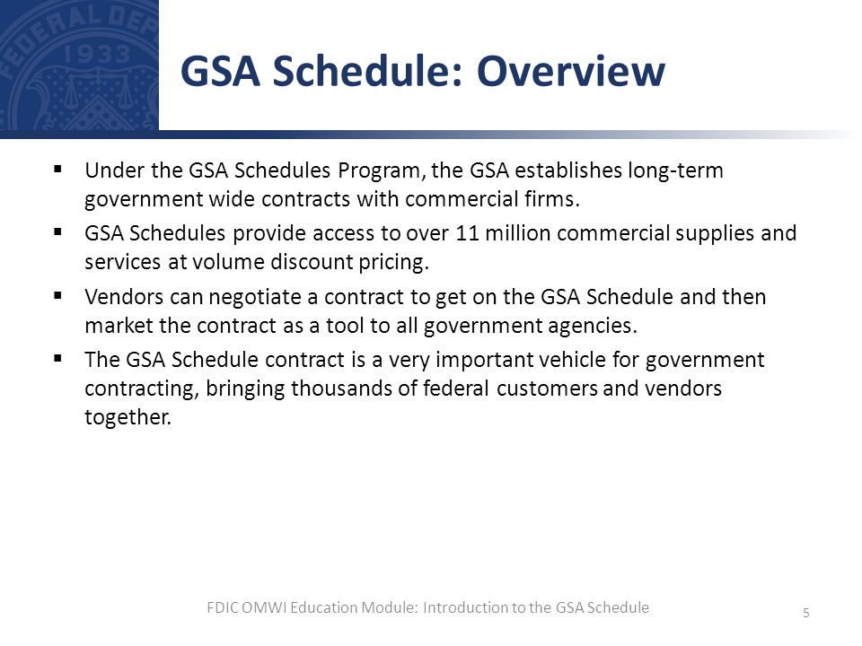 GSA Schedule: Overview