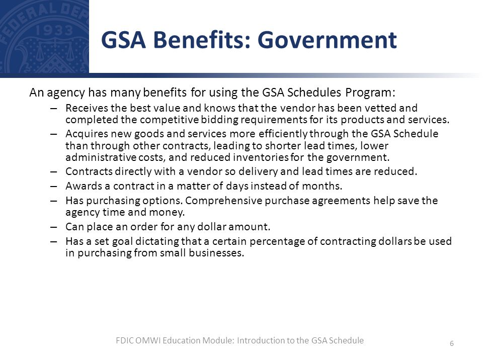 GSA Benefits: Government