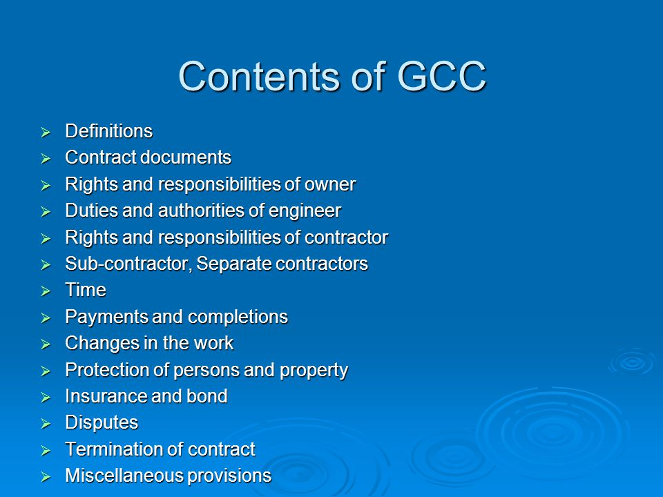 Contents of GCC Definitions Contract documents