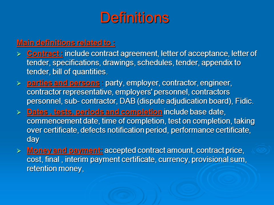 Definitions Main definitions related to :