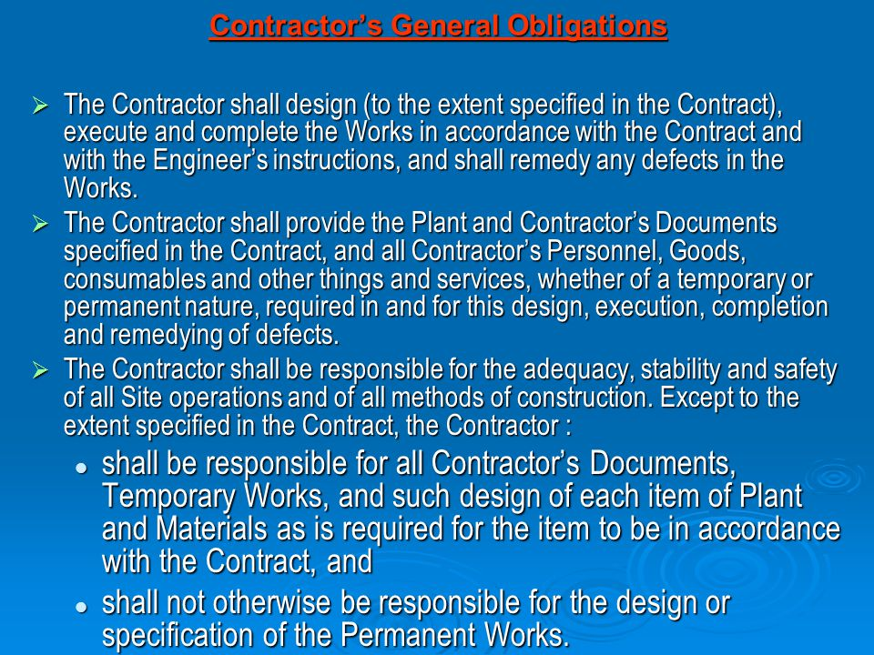 Contractor's General Obligations