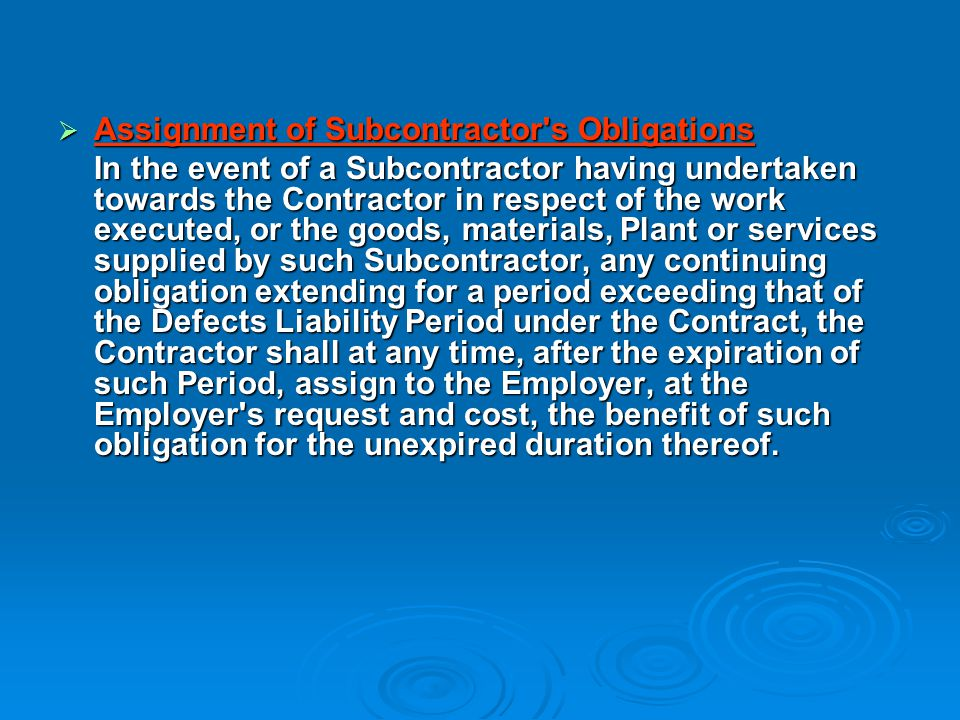 Assignment of Subcontractor s Obligations