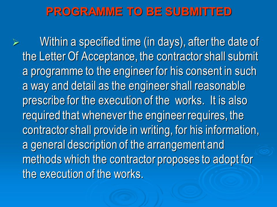 PROGRAMME TO BE SUBMITTED