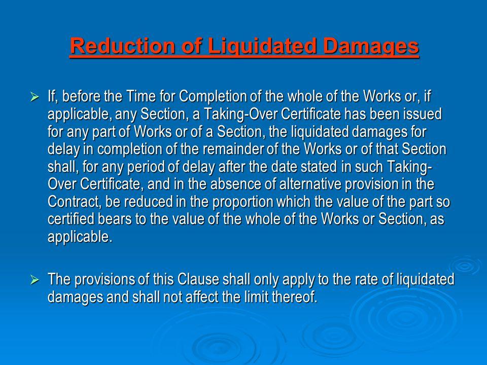 Reduction of Liquidated Damages