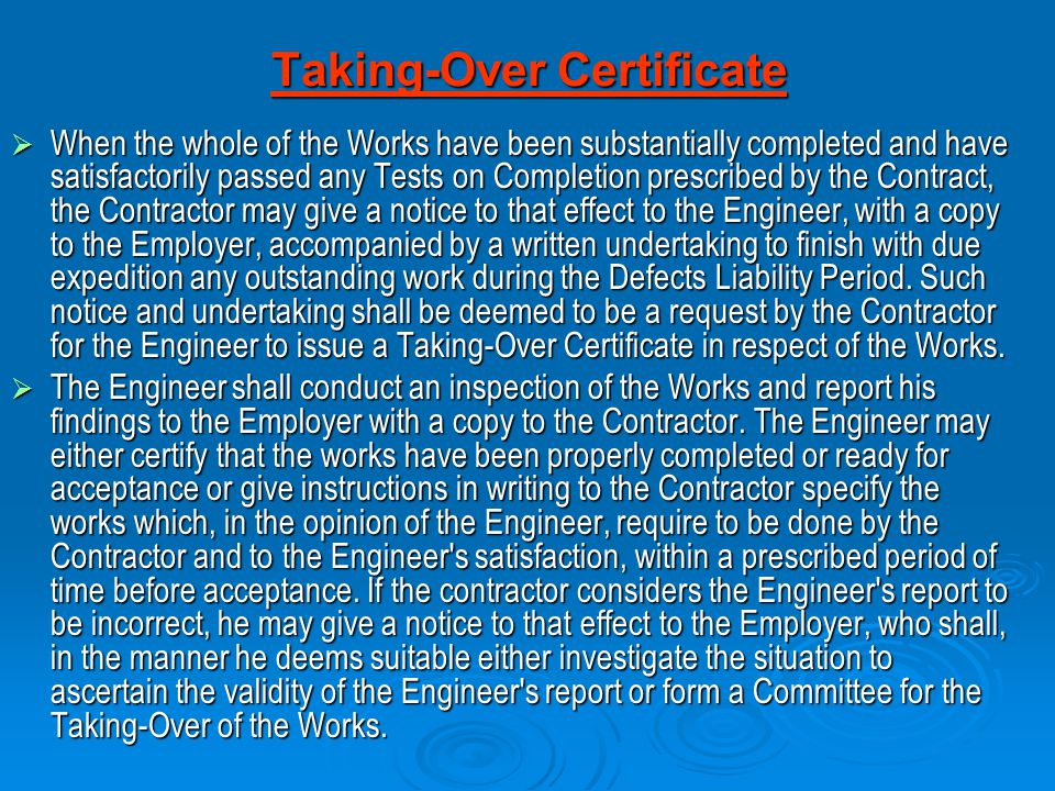 Taking-Over Certificate
