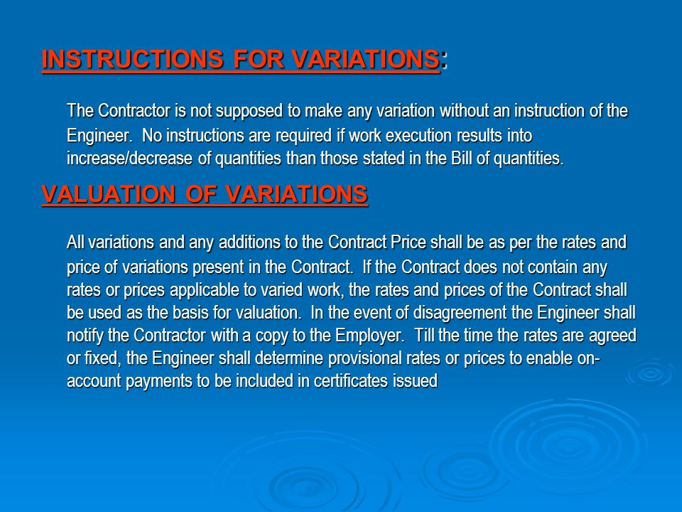INSTRUCTIONS FOR VARIATIONS: