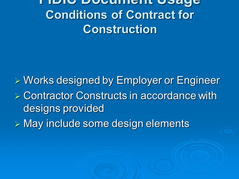 FIDIC Document Usage Conditions of Contract for Construction