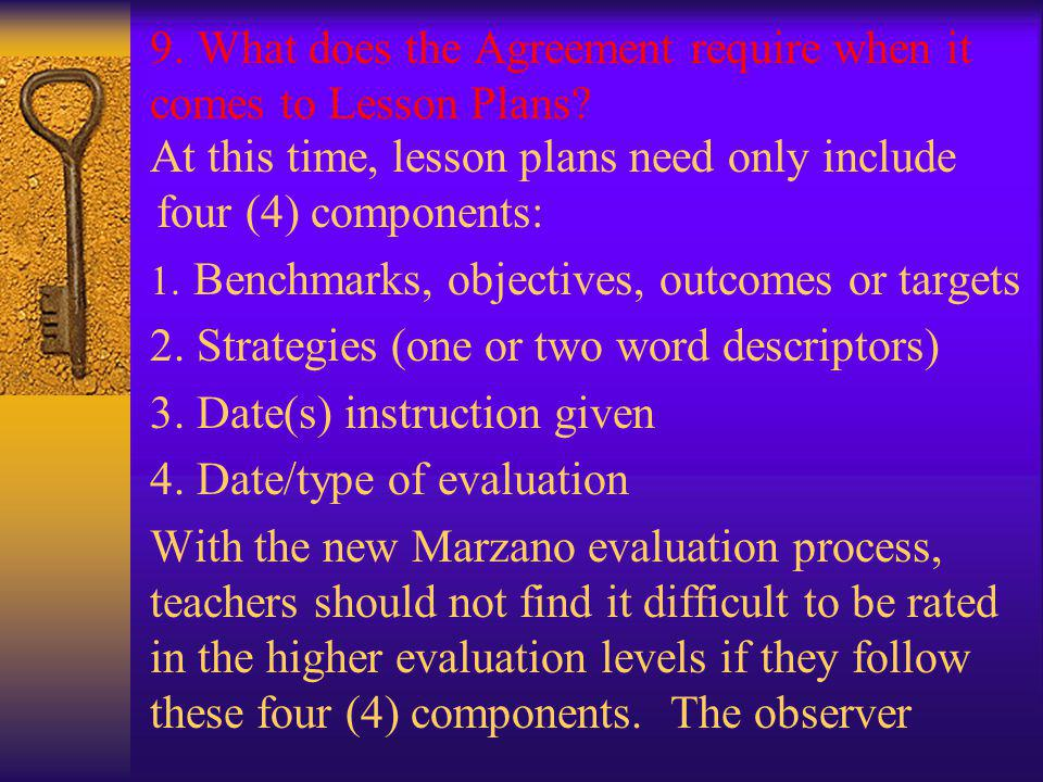 9. What does the Agreement require when it comes to Lesson Plans