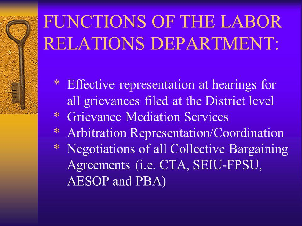 FUNCTIONS OF THE LABOR RELATIONS DEPARTMENT: