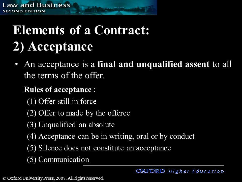 Elements of a Contract: 2) Acceptance