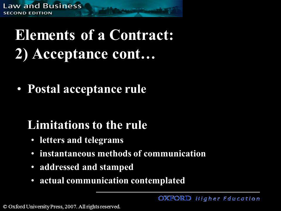 Elements of a Contract: 2) Acceptance cont…