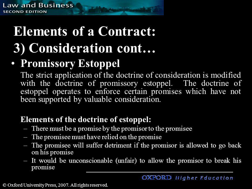 Elements of a Contract: 3) Consideration cont…