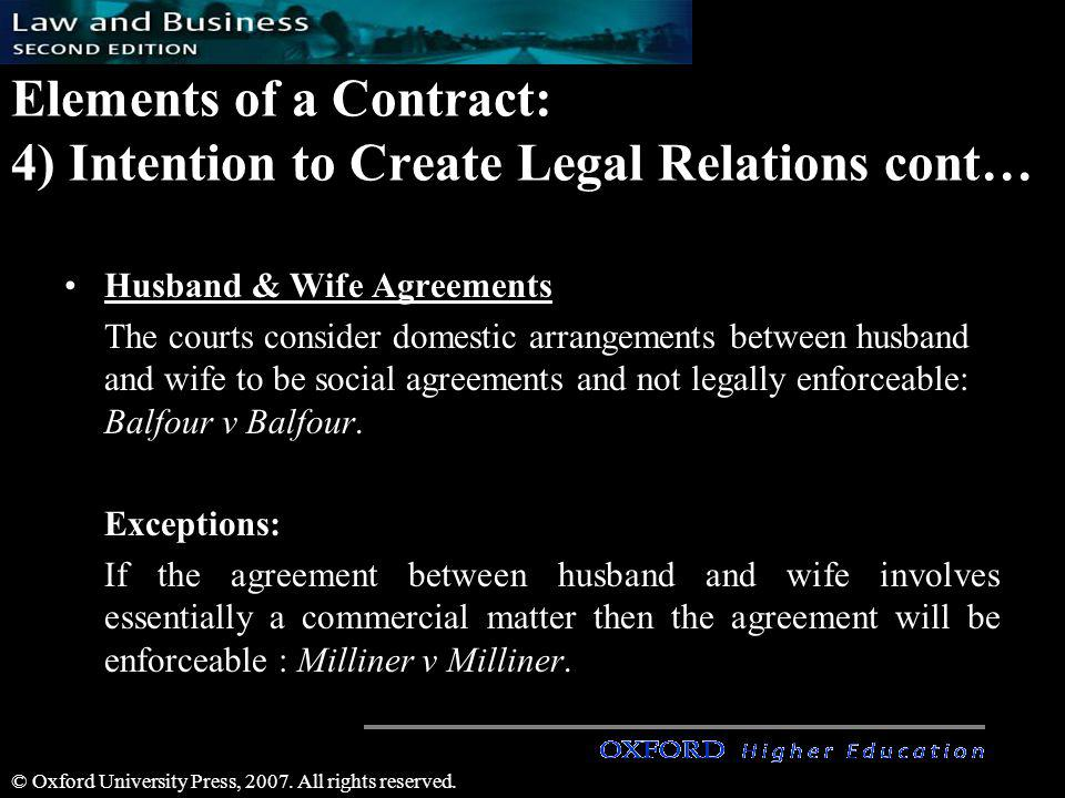 Elements of a Contract: 4) Intention to Create Legal Relations cont…