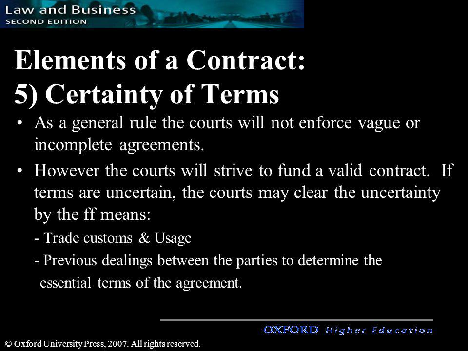 Elements of a Contract: 5) Certainty of Terms