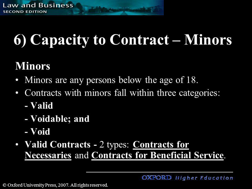 6) Capacity to Contract – Minors