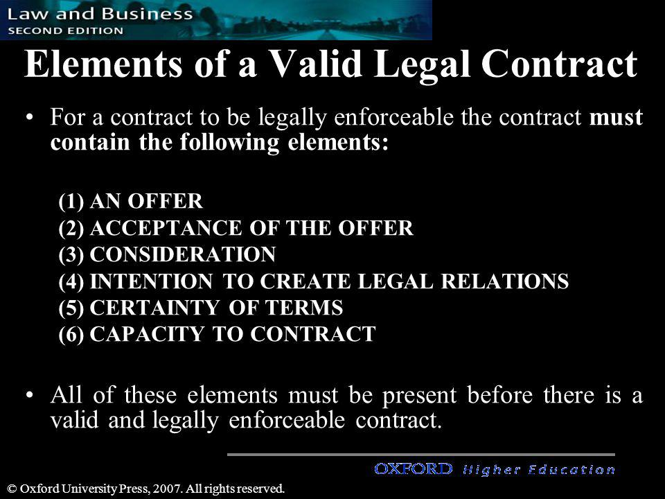 Elements of a Valid Legal Contract