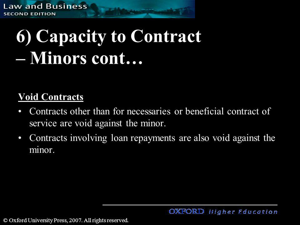 6) Capacity to Contract – Minors cont…