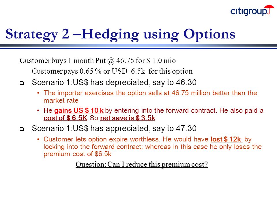 Strategy 2 –Hedging using Options