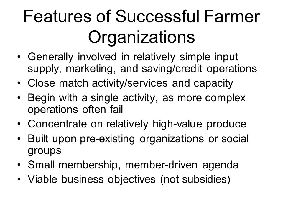Features of Successful Farmer Organizations