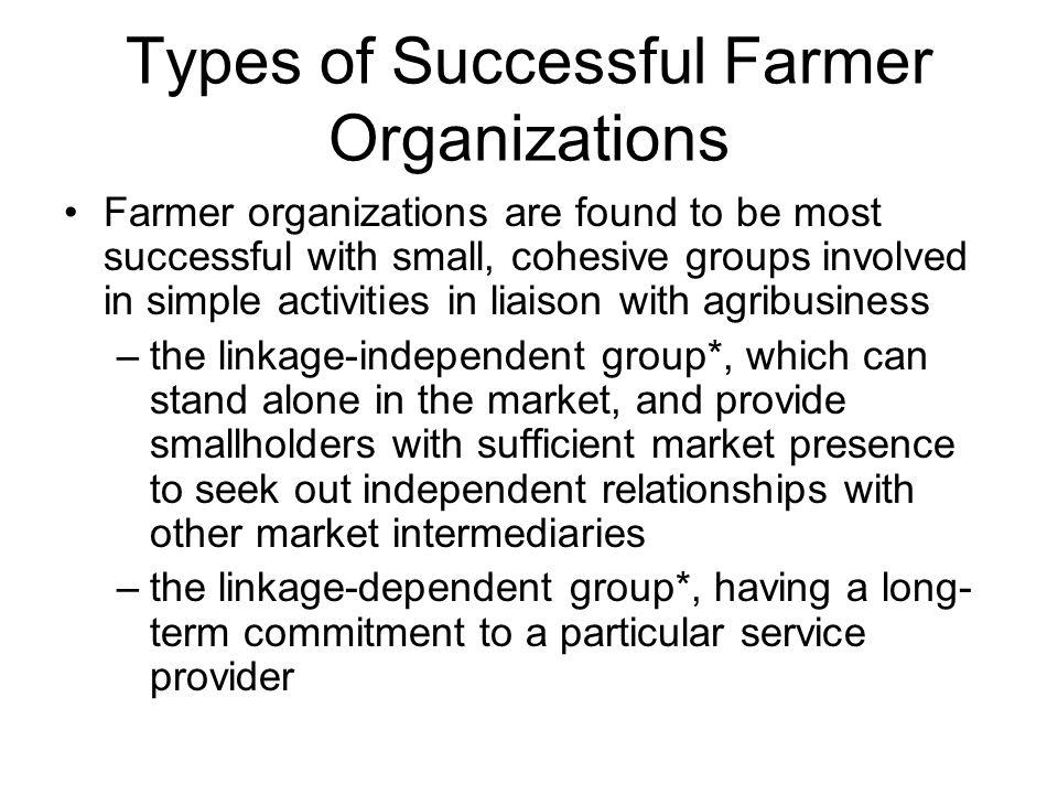 Types of Successful Farmer Organizations