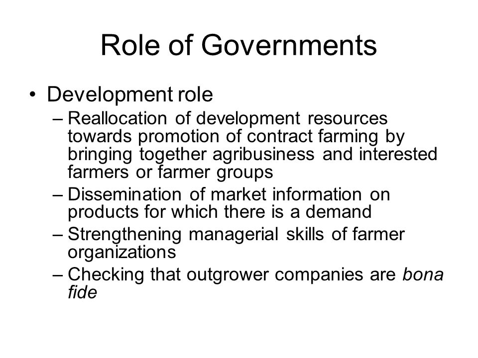 Role of Governments Development role