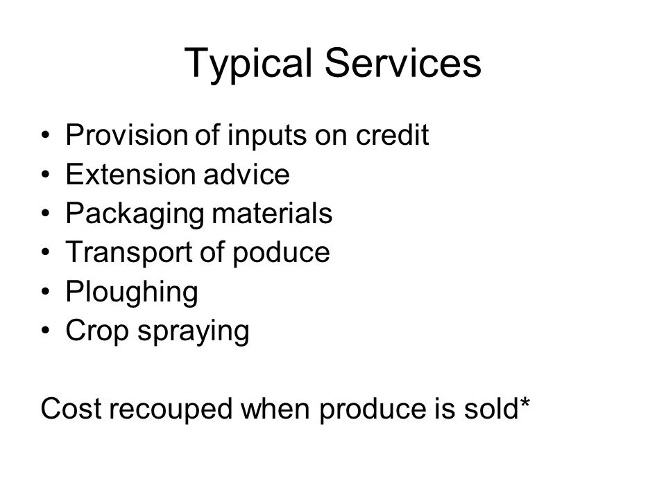 Typical Services Provision of inputs on credit Extension advice