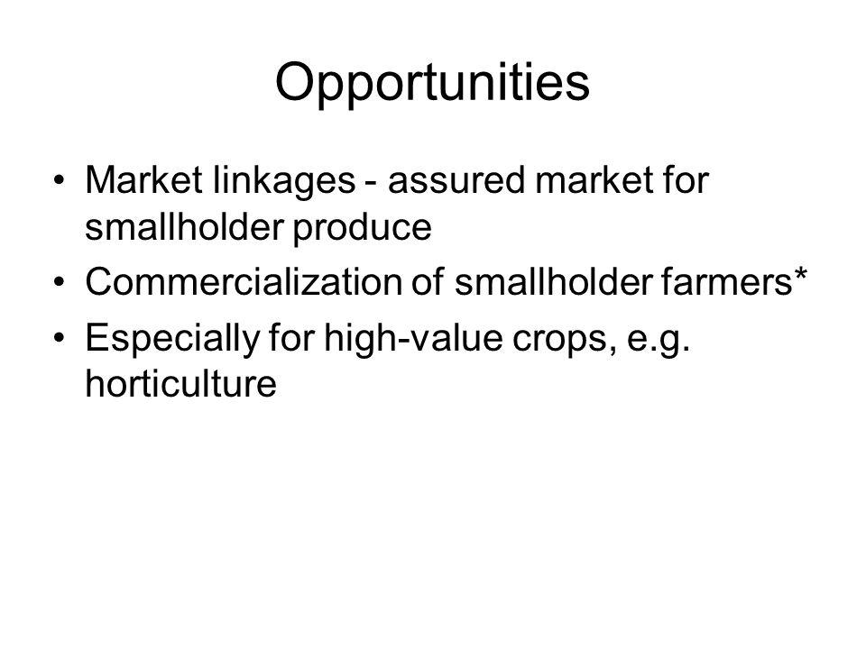 Opportunities Market linkages - assured market for smallholder produce