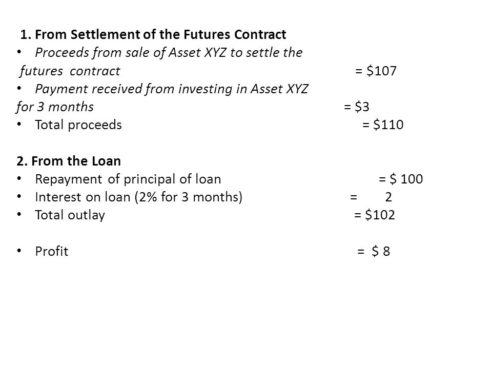 1. From Settlement of the Futures Contract