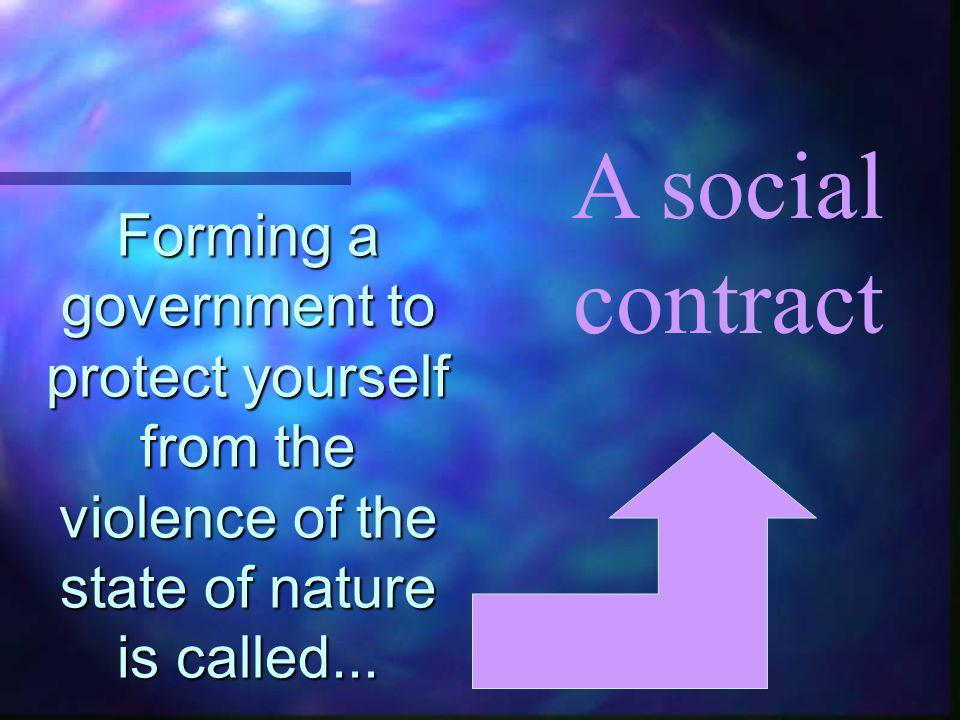 Forming a government to protect yourself from the violence of the state of nature is called...