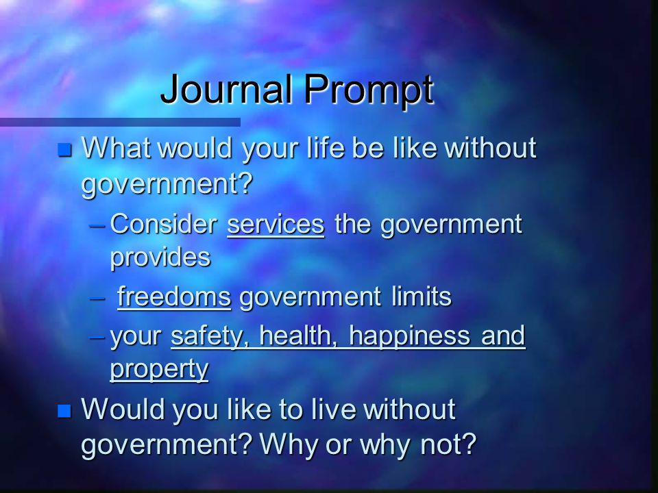 Journal Prompt What would your life be like without government