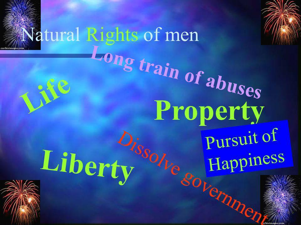 Life Property Liberty Natural Rights of men Long train of abuses