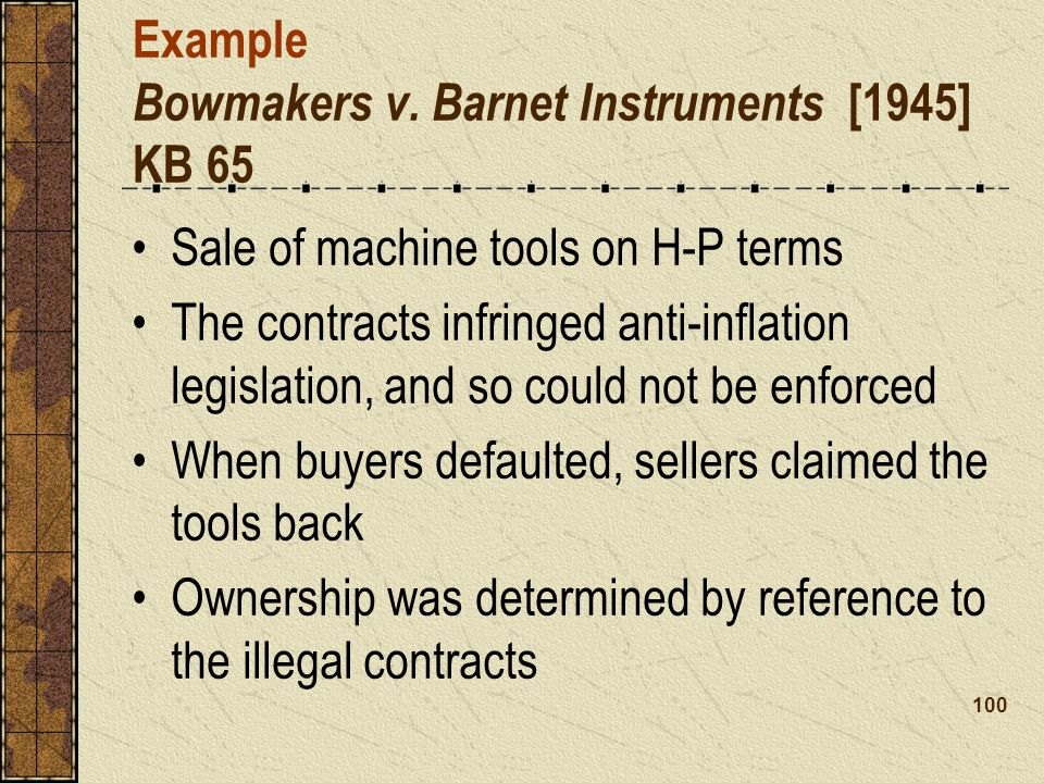 Example Bowmakers v. Barnet Instruments [1945] KB 65