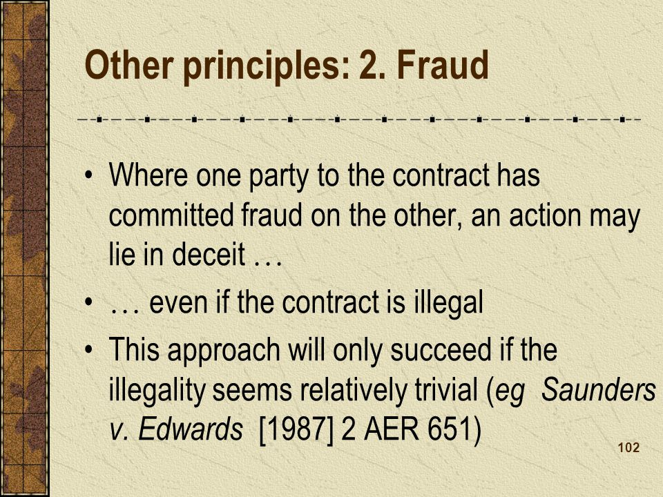 Other principles: 2. Fraud