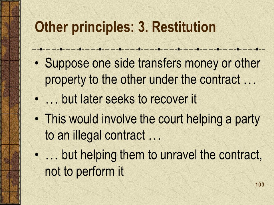 Other principles: 3. Restitution