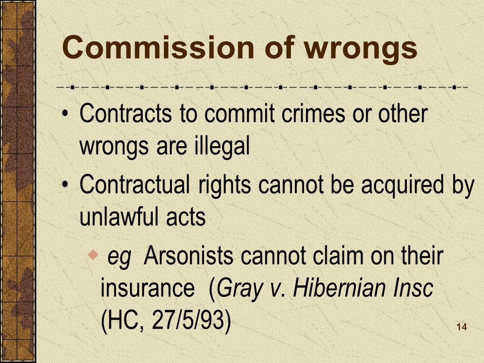 Commission of wrongs Contracts to commit crimes or other wrongs are illegal. Contractual rights cannot be acquired by unlawful acts.